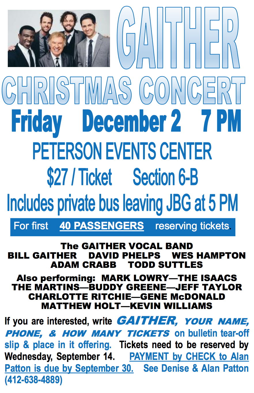 Gaither christmas concert for 3719 terrace street pittsburgh pa 15261